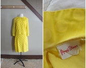 RESERVED/ Miss Sunshine 1960s Yellow Polka Dot Blouse/Dress Set with Peter Pan Collar/Bow Detail AS IS
