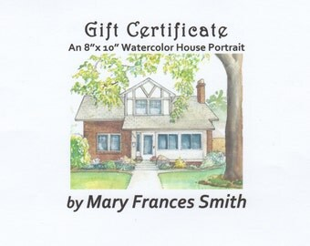 Portrait of home in watercolor, gift certificate for house portrait, custom painting of house or building in color from photo, house sketch