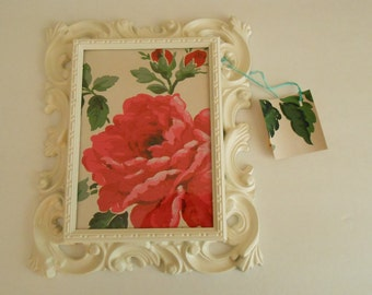 Shabby Chic white frame with vintage wallpaper floral