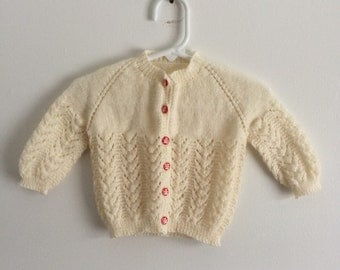 Vintage hand knit baby sweater unisex