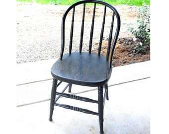 Bowback Plank Windsor Early American Green-Black Paint 19thC Signed G & Son Primitive Antique Rare New England French Country Farmhouse Seat