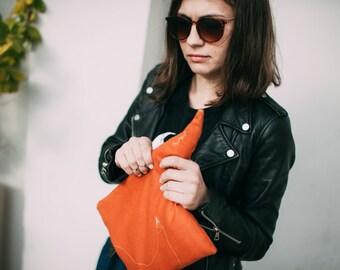 Orange fox clutch. Canvas clutch. Tablet sleeve.