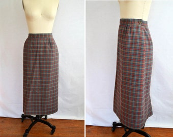 Plaid midi skirt | Etsy