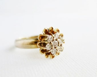 Antique Rositas Flower Ring with 7 Tiny Brilliant Cut Diamonds in 8K Gold from the Philippines (US Ring Size 5.5)