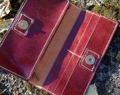Oxblood Coloured Long Wallet - Handmade Leather Wallet