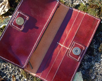 Oxblood Coloured Long Wallet - Handmade Leather Wallet
