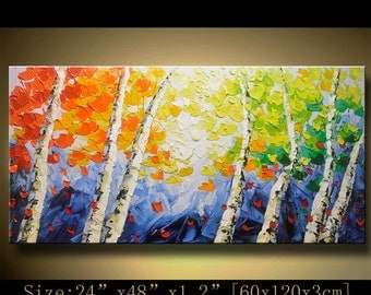 contemporary wall art, Palette Knife Painting,colorful tree painting,wall decor  Home Decor,Acrylic Textured Painting ON Canvas by Chen xx53
