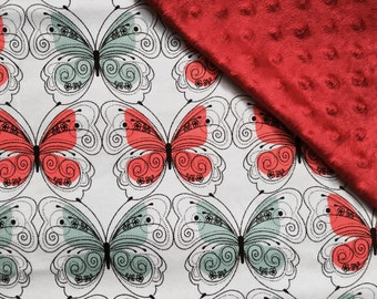 Baby Car Seat Canopy COVER or NURSING Cover: Butterflies on Very Light Blue with Red Minky, Personalization Available