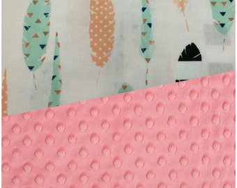Baby Blanket Feather Carseat Blanket Crib Blanket Girl Minky Blanket