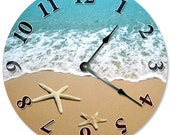 STARFISH AT SHORELINE Clock - Large 10.5 inch Clock - Novelty Clocks - Unique Wall Clocks - Round Circle Clock - beach clock, ocean - 2107