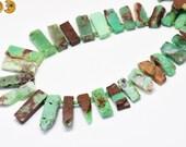 15 inch strand of Australia Jade nugget beads,slab slice bead,stick bead,tusk bead,top drilled beads 8x20-10x35mm