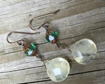 Czech Glass and Teardrop Dangle Earrings