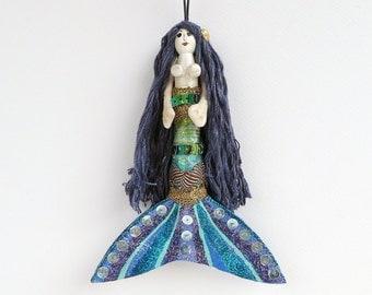 Mermaid Christmas Decoration, Christmas Tree Ornament, handmade peg doll, hanging ornament, OOAK holiday decor
