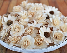 100  Pcs Wooden Flowers - Natural Color-for Weddings, Home Decorations, Scrapbooking and Floral Arrangements