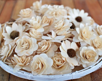 24  Pcs Wooden Flowers - Natural Color-for Weddings, Home Decorations, Scrapbooking and Floral Arrangements