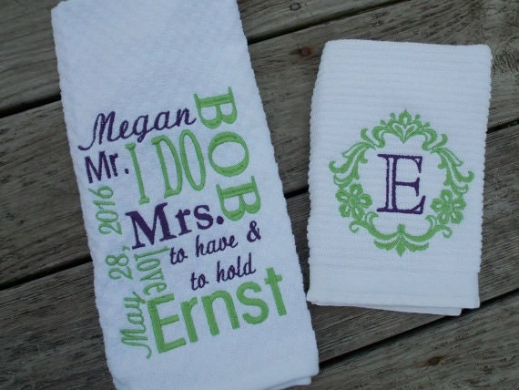 Personalized Wedding Gifts Kitchen : Personalized Kitchen Towel Set, Wedding Gift Set, Bridal Shower Gift ...
