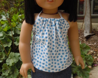 Halter top and denim skirt for 18 inch doll or american girl doll