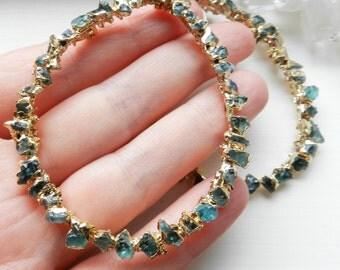 apatite earrings, hoop earrings, gold earrings, druzy earrings, statement jewelry, gold nugget, raw apatite