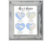 The First Day | The Yes Day | The Best Day | Our Home | 8x10 Art Print | Maps | Wedding Gift | Engagement Gift