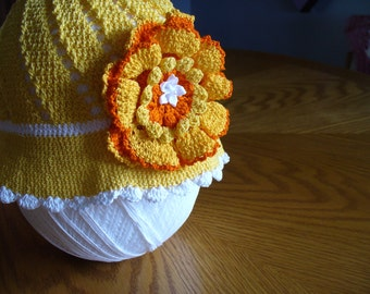 Children's Crochet Hat in Orange and White with Flowers