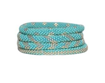 Turquoise and Galvanized Silver Beaded Handmade Bracelets Set, TOHO Galvanized Japanese Seed Beads,Nepal, High quality