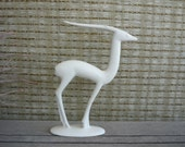 Vintage Ceramic Figurine, Mid Century Modern Statue, White Gazelle, West German Pottery
