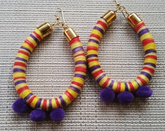 Purple, Pink, and Yellow Tribal Pom Pom Hoops