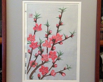 Asian print of flowers, signed and framed.