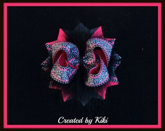 Hot Pink and Black Damask Hair Bow with Marabou Ready to Ship