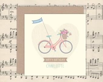 Personalised Pretty Bike Card