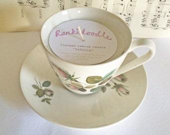Vintage Purple & Green Floral Teacup Candle