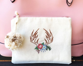 Hand embroidered canvas pouch antler and floral design pencil pouch travel bag clutch cosmetics bag // pencil case