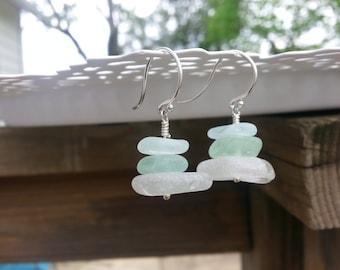 Soft blue and sea foam beach glass stacks
