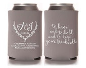 Calligraphy Wedding Koozies, To Have and to Hold, Beer Can Coolers, Wedding Favors, Drinkware, Can Sleeves, Can Coolers, Gray - T273