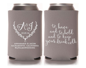 Calligraphy Wedding Can Coolers, To Have and to Hold, Beer Can Coolers, Wedding Favors, Drinkware, Can Sleeves, Can Coolers, Gray - T273