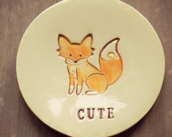 Personalized Cute Fox Plate Orange Sly Fox Pottery Ring Holder Best Friend Inspirational Gift Jewelry Dish