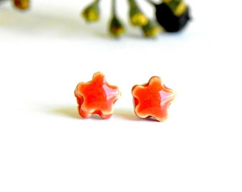 Mini Orange Flower Ceramic Earrings Small Stud  Pottery Surgical Steel Post