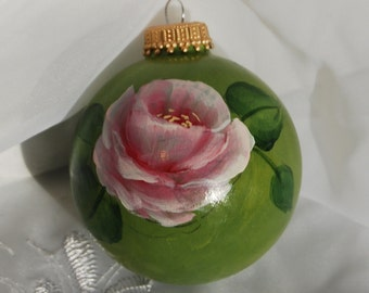 Hand Painted Green with Rose Glass Ornament