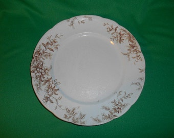 "One (1),  J.H.W. & Sons, (J.H.Weatherby), Semi-Porcelain, 10"" Dinner Plate, in the Woodland Pattern."