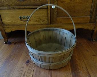 Vintage Basket, Handled Basket, Wood Slat Basket, Large, Old Baskets, Rustic, Home Decor, Baskets, Primitive Baskets, Farmhouse Decor