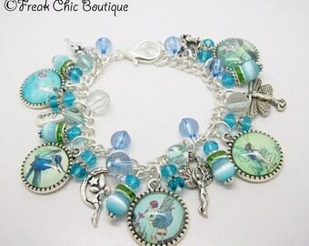 Fairy Charm Bracelet, Garden Fairies, Blue Theme, Fairy Jewelry, Unique Gift, Gift For Her, Fairies, fay, fae, faery, faerie,