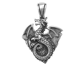 Earth Dragon 1.75 inch (42 mm) Pewter Elemental Dragons Pendant Antique Silver