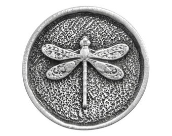 2 Round Dragonfly 15/16 inch ( 24 mm ) Pewter Metal Buttons