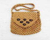 Vintage Womens Macrame Purse Beaded Boho Hippie Bag Shoulder