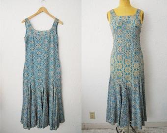 Vintage 40s Blue Lace Cut Out Flower Mermaid Dress
