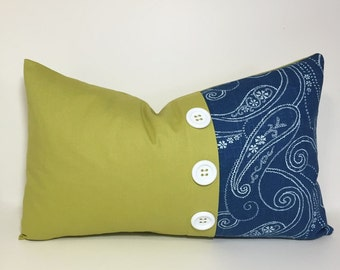 Button pleat accent pillow cover. Lemongrass & blue colorblock pillow cover. Navy and green pillows. home decor accent, throw pillows
