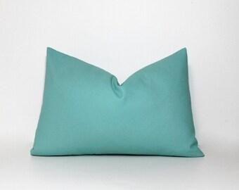Aqua brushed canvas pillow cover. Home decor accent pillows. Teal, turquoise, aqua decor.