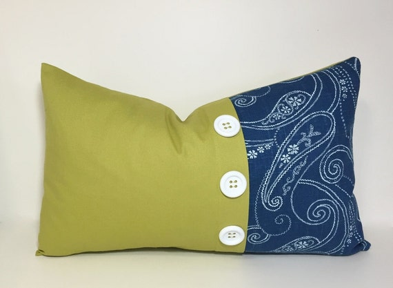 Button pleat accent pillow cover. Lemongrass & blue colorblock