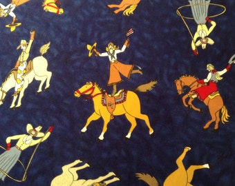 Vintage Rodeo Quilting Fabric, Cowgirl Fabric, Moda, Half -yard