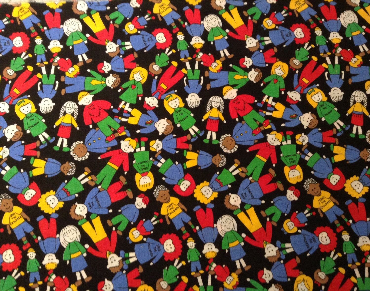 Save the children quilting fabric vintage fabric 1 3 yard for Vintage childrens fabric by the yard